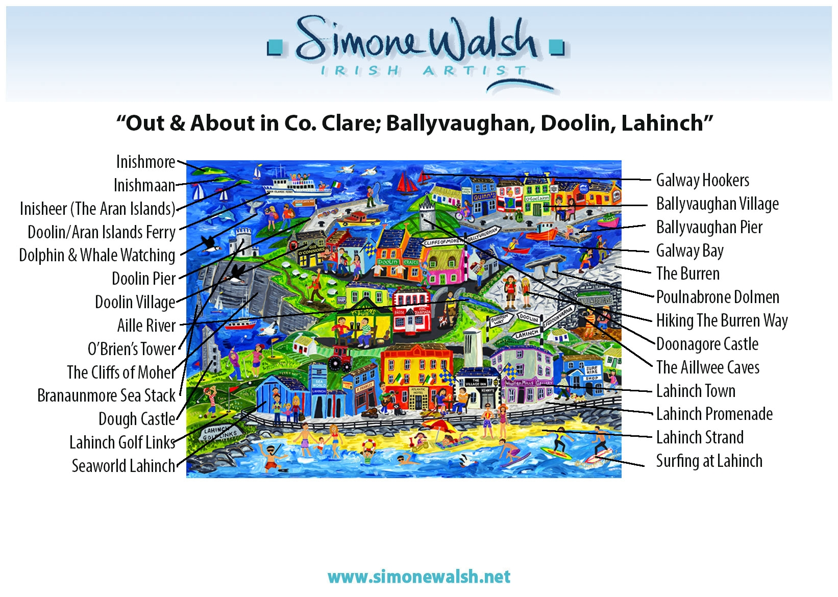 Map Of Ireland Showing Doolin.Out About In Co Clare Ballyvaughan Doolin Lahinch