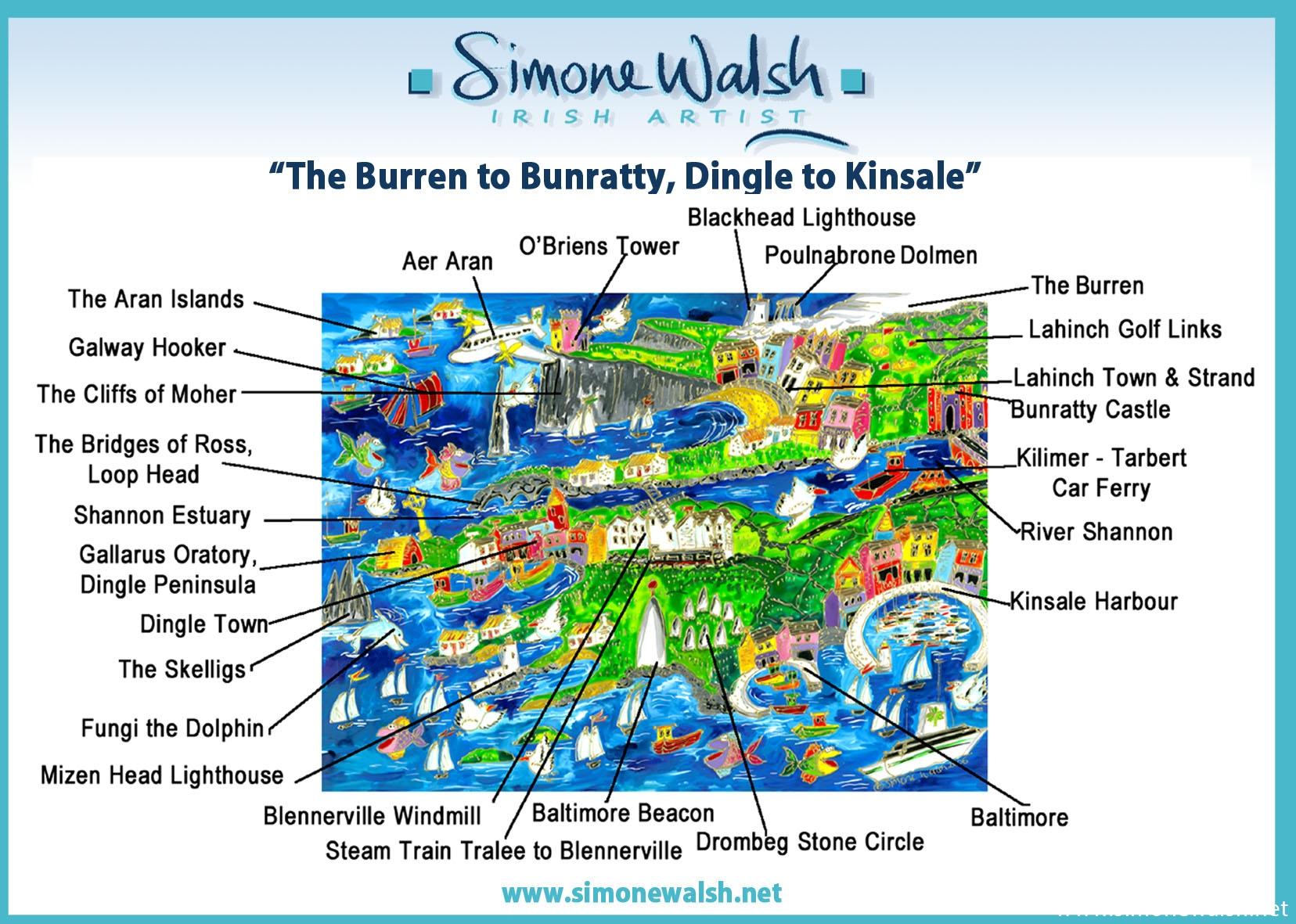 Dingle Map Of Ireland.The Burren To Bunratty Dingle To Kinsale