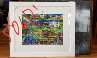 """My original painting """"On Campus in UL"""" off to its new home!"""