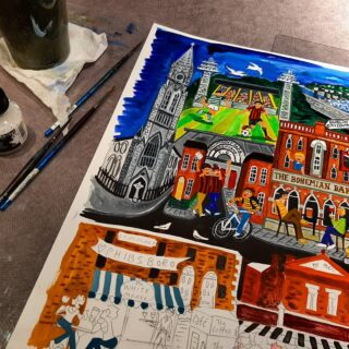 New work in progress! Guess where?? #art #prints #paintings