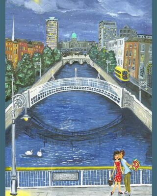 It's been another busy week here in the studio and Christmas shopping is in full swing. This print of the Last Bus Home in Dublin is one of our most popular choices this week. The picture perfectly captures late night dates, sharing a kiss on a moonlit Millennium Bridge and running for the last bus - good old times that are sure to return. Available framed or mounted with prices from €40 - it's a beautiful gift. Link in bio to view on our website. #simonewalshart #madelocal #irishartist #supportirishart #gifting #prints