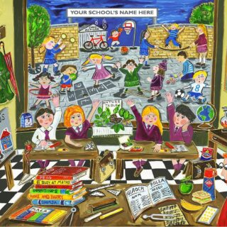 """You can now personalise """"The Good Old Irish Schooldays"""" print by adding the name of your school to the top of the print! You can choose your schools uniform colour too! https://www.simonewalsh.net/product/the-good-old-irish-school-days-personalise-it/"""