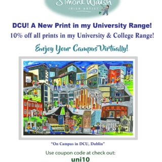 To launch my new DCU, we are offering 10% off all prints in my University Range! Now you can enjoy your college experience virtually! #dcu #ucd #ucc #ul #nui